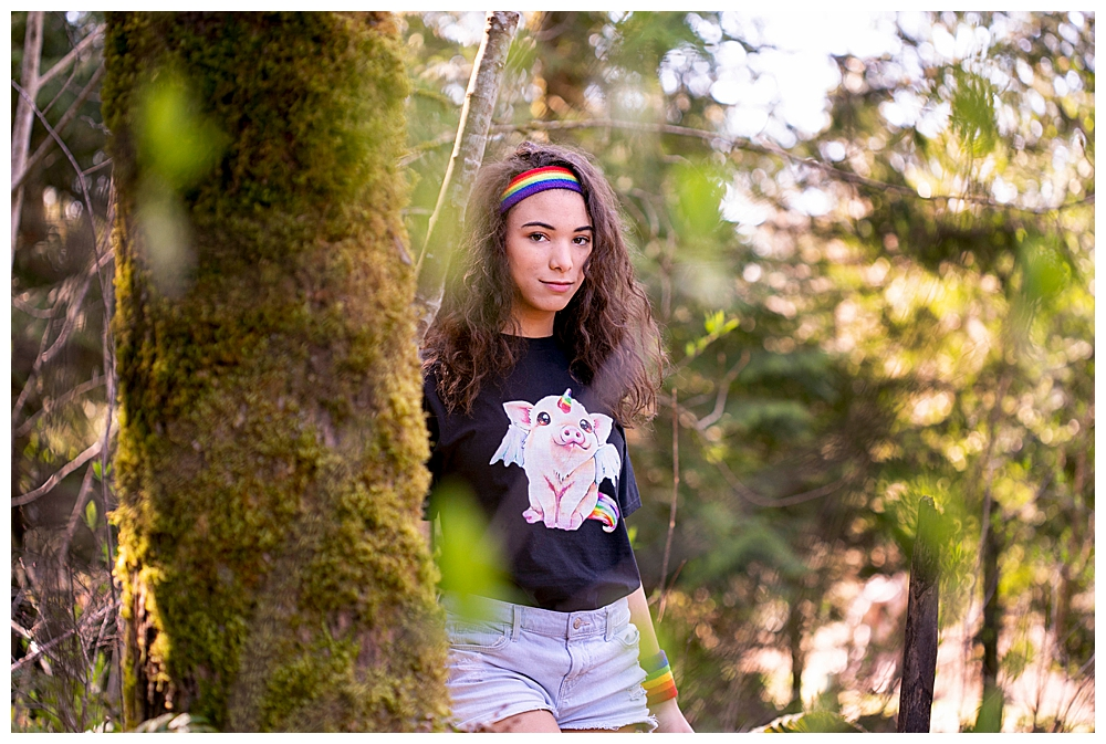 Skater girl in the woods