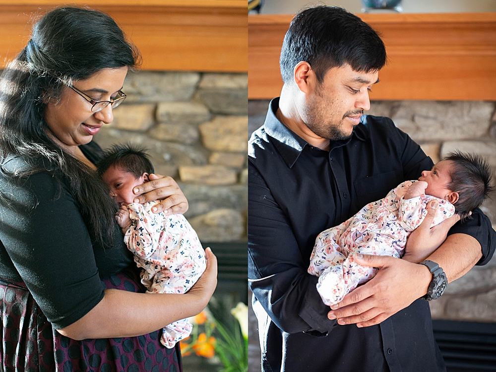Mom and dad with newborn baby. Newborn photography in Bellingham, WA