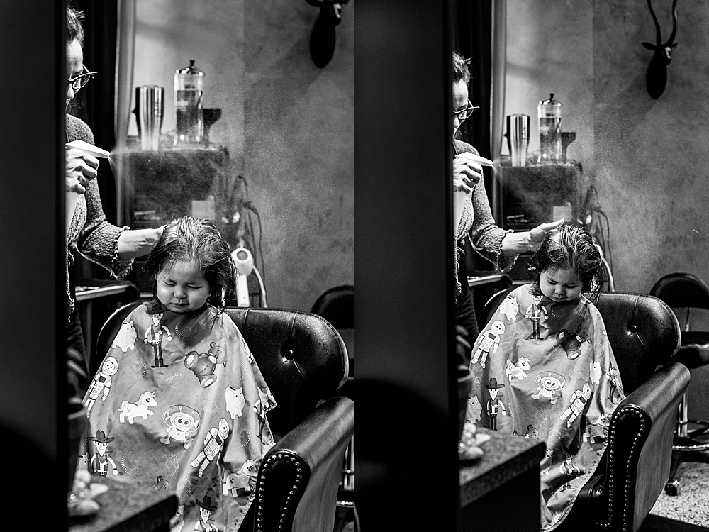 Toddler getting haircut at Sandalwood Salon and Spa.