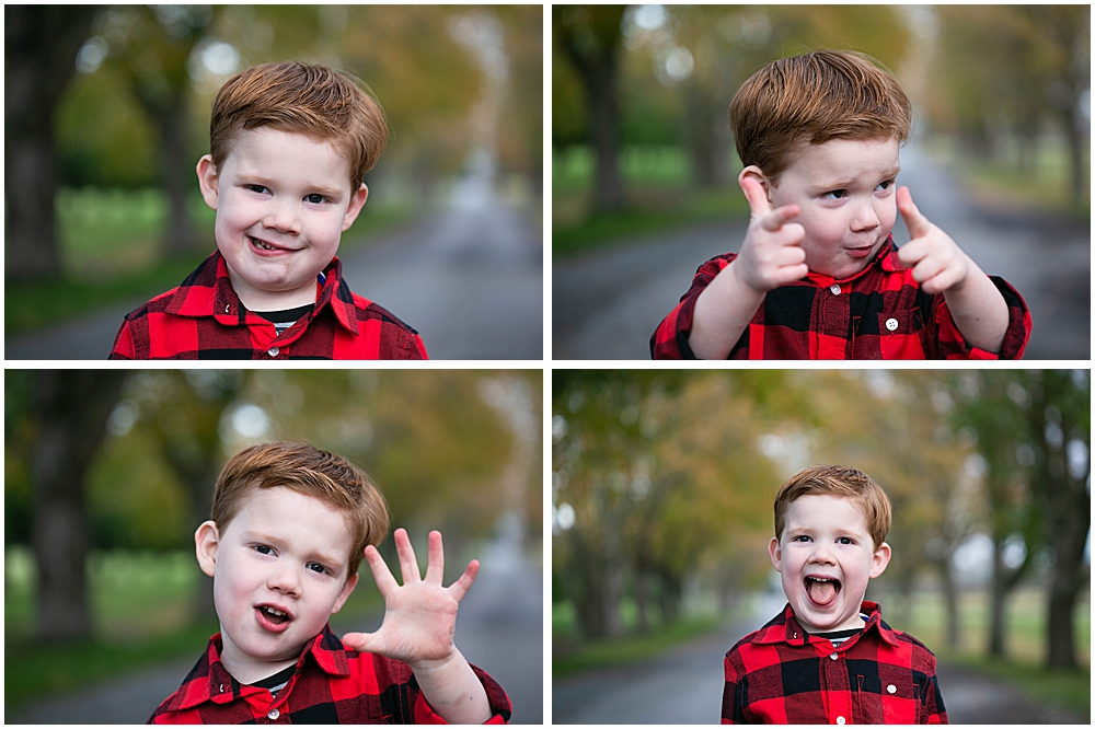 Four-year-old Achilles enjoyed hamming it up for his family photo session at Hovander.