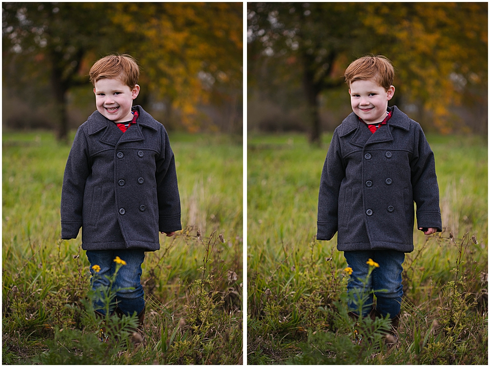 Cheeky little boy in peacoat at Hovander Park.