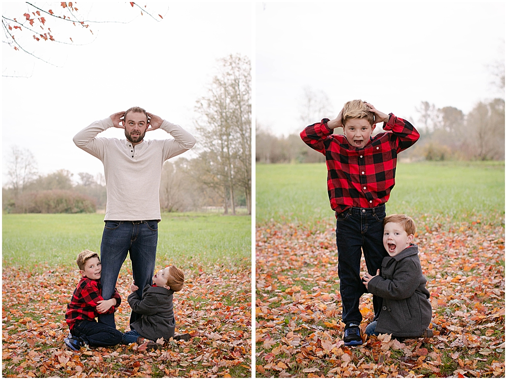 Humerous photo of dad overwhelmed by kids.