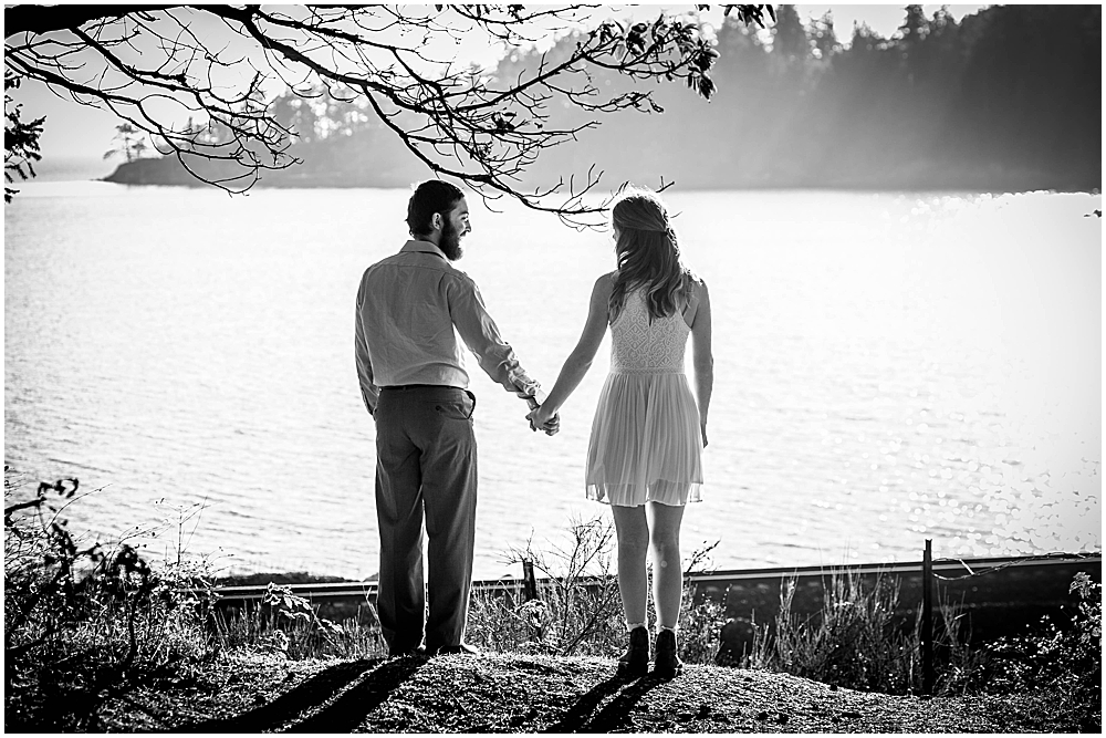 Black and white photo of couple holding hands. Bellingham, WA