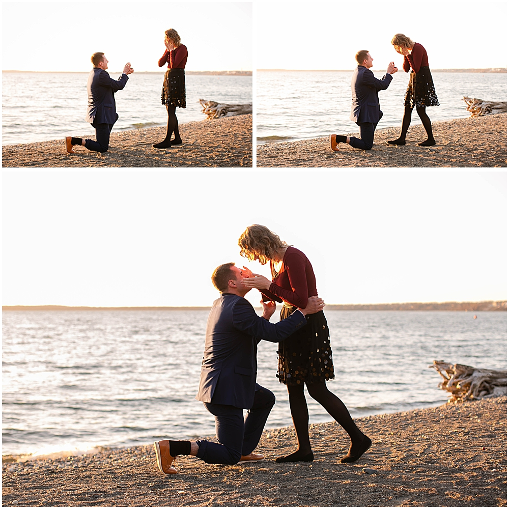 Surprise proposal on the beach at boulevard park in Bellingham