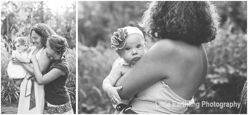 black and white images of mom, baby and sister